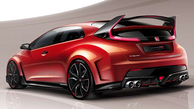 Honda Civic Type R Concept Model Geneva 2014