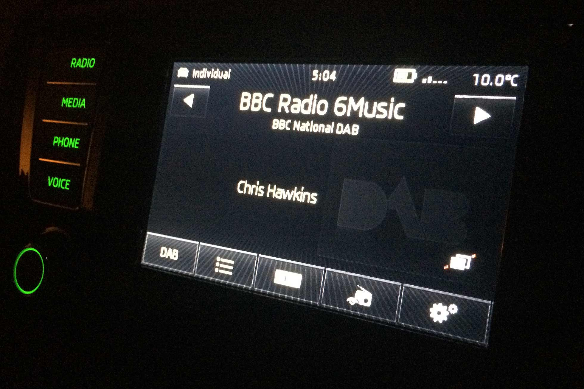 BBC Radio 6Music in car