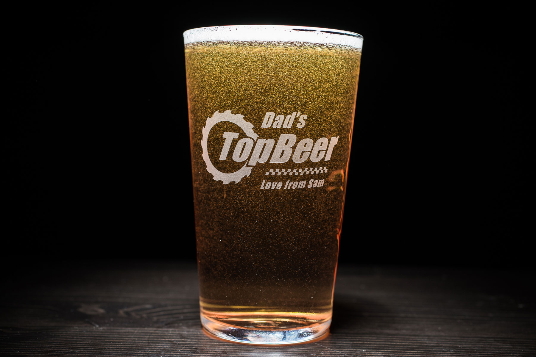 Personalised 'top beer' pint glass: £8.99