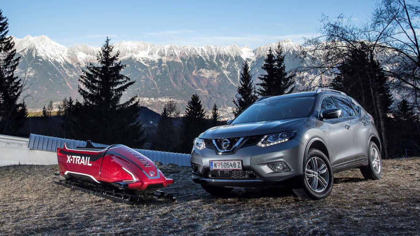 Nissan bobsleigh and X-Trail