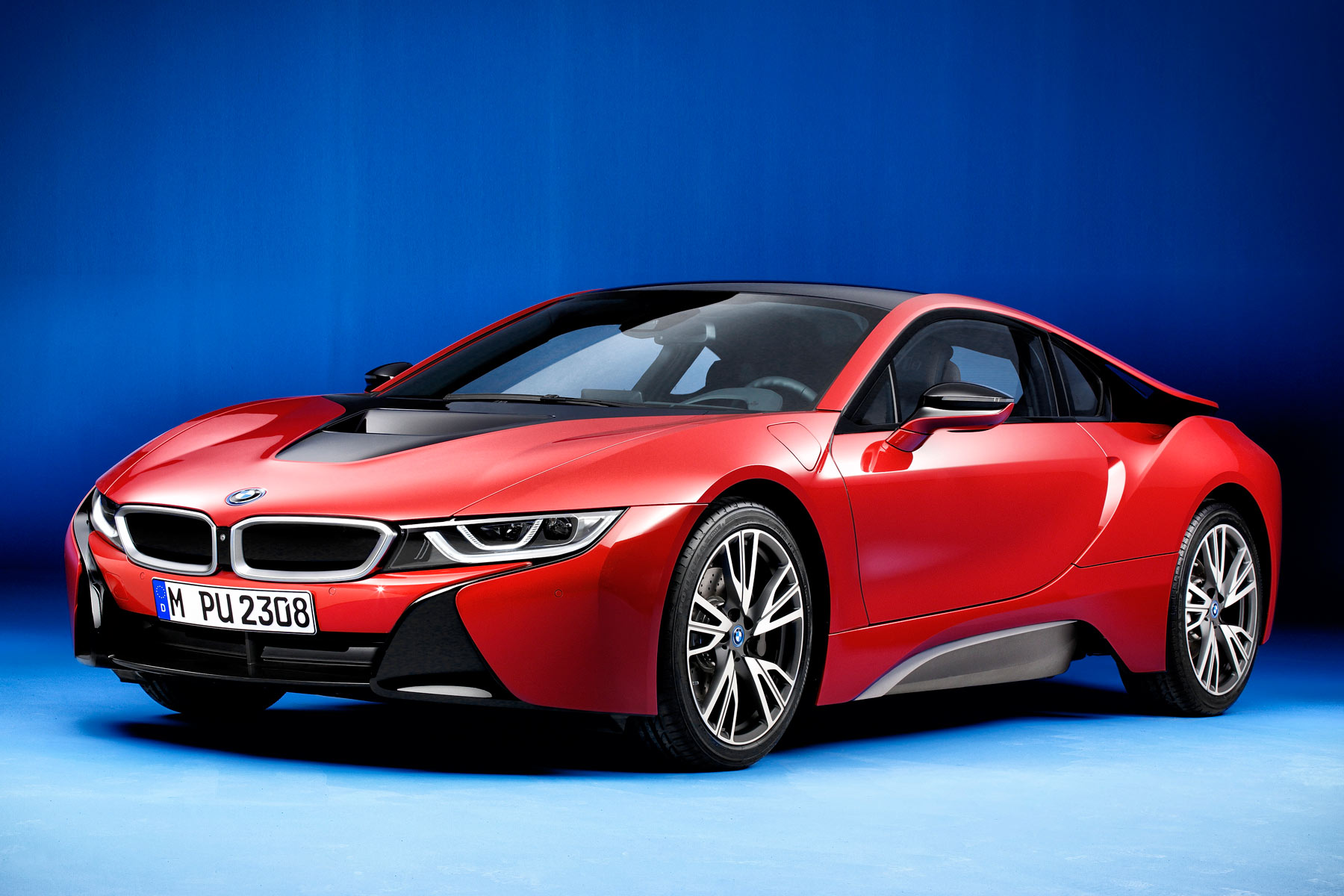 This limited edition BMW i8 has special paint and double red stitching