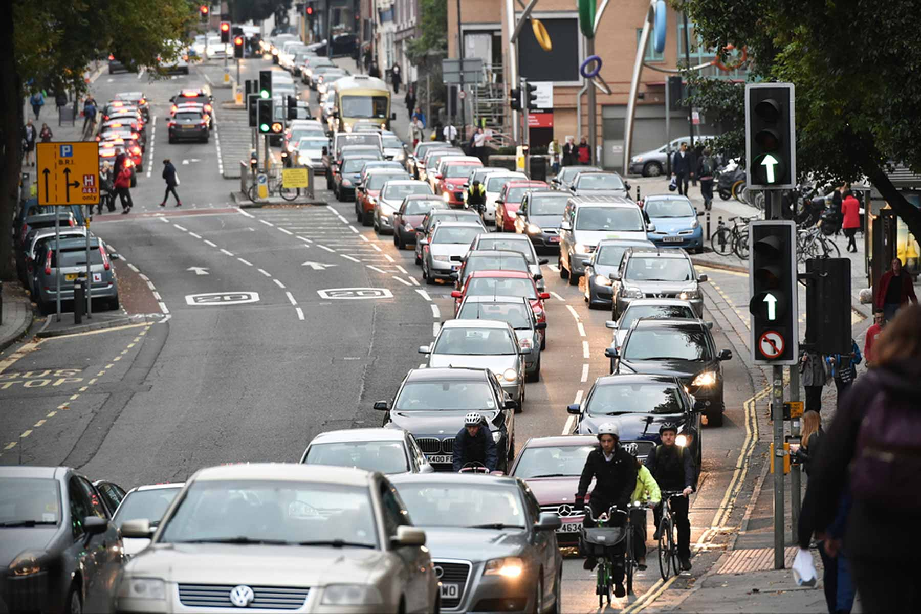 Snarled-up traffic jam