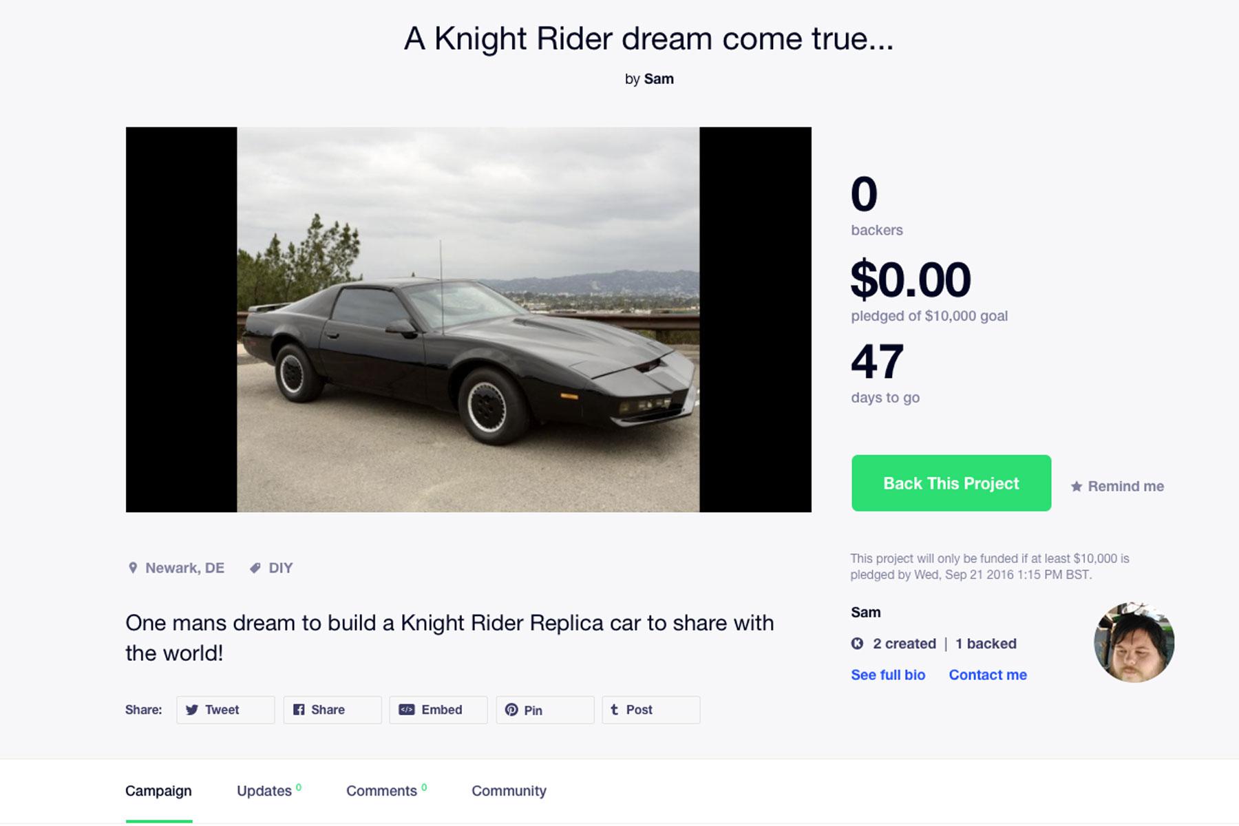 Knight Rider on Kickstarter