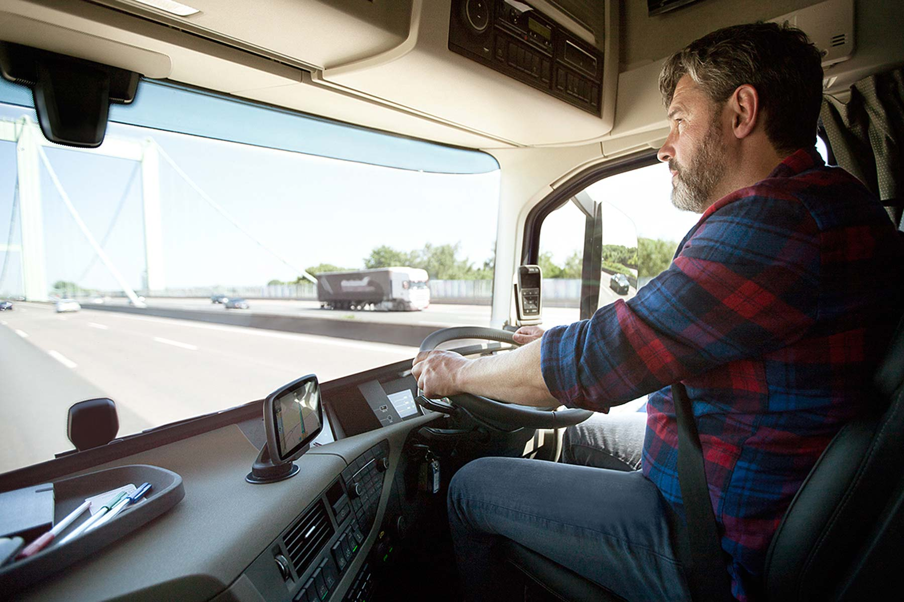 A trucker on the road