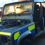 Thieves steal doors and bonnet from a police Land Rover