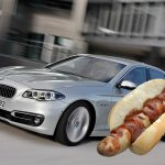 German man dents BMW by hitting it with a SAUSAGE