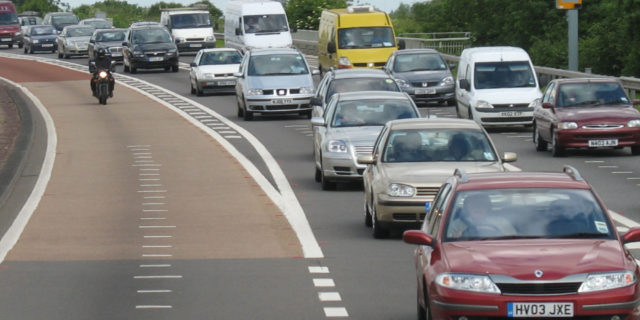 The average speed on local A-roads is just 25mph