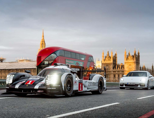 Porsche Le Mans racer driven through London