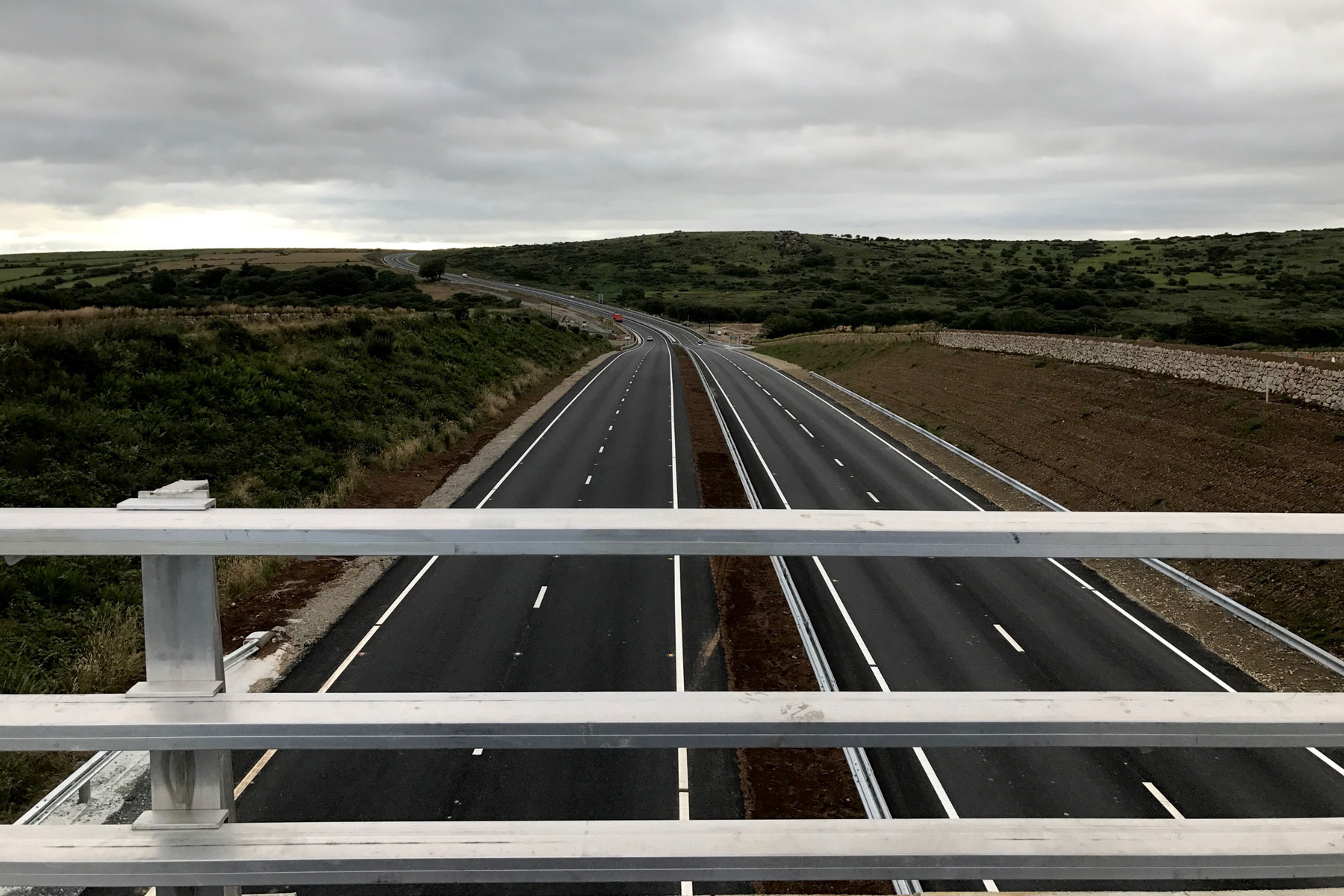 New A30 open on Bodmin Moor