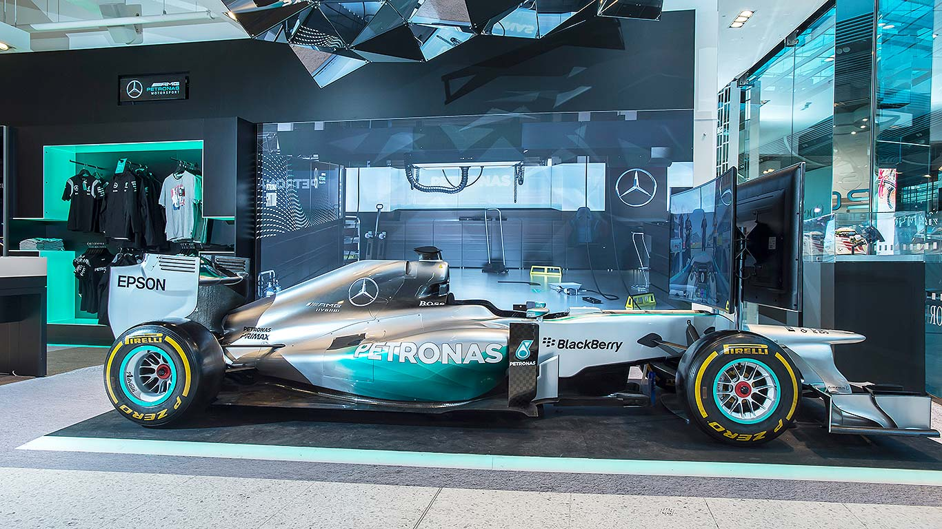 A million brits have visited a mercedes benz pop up shop for Mercedes benz f1 shop