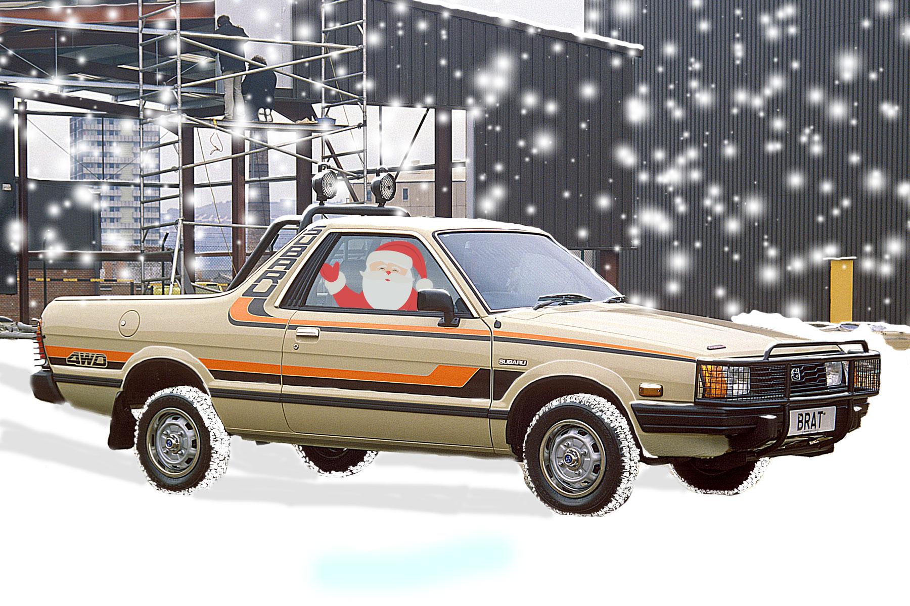 Santa driving a Subaru BRAT