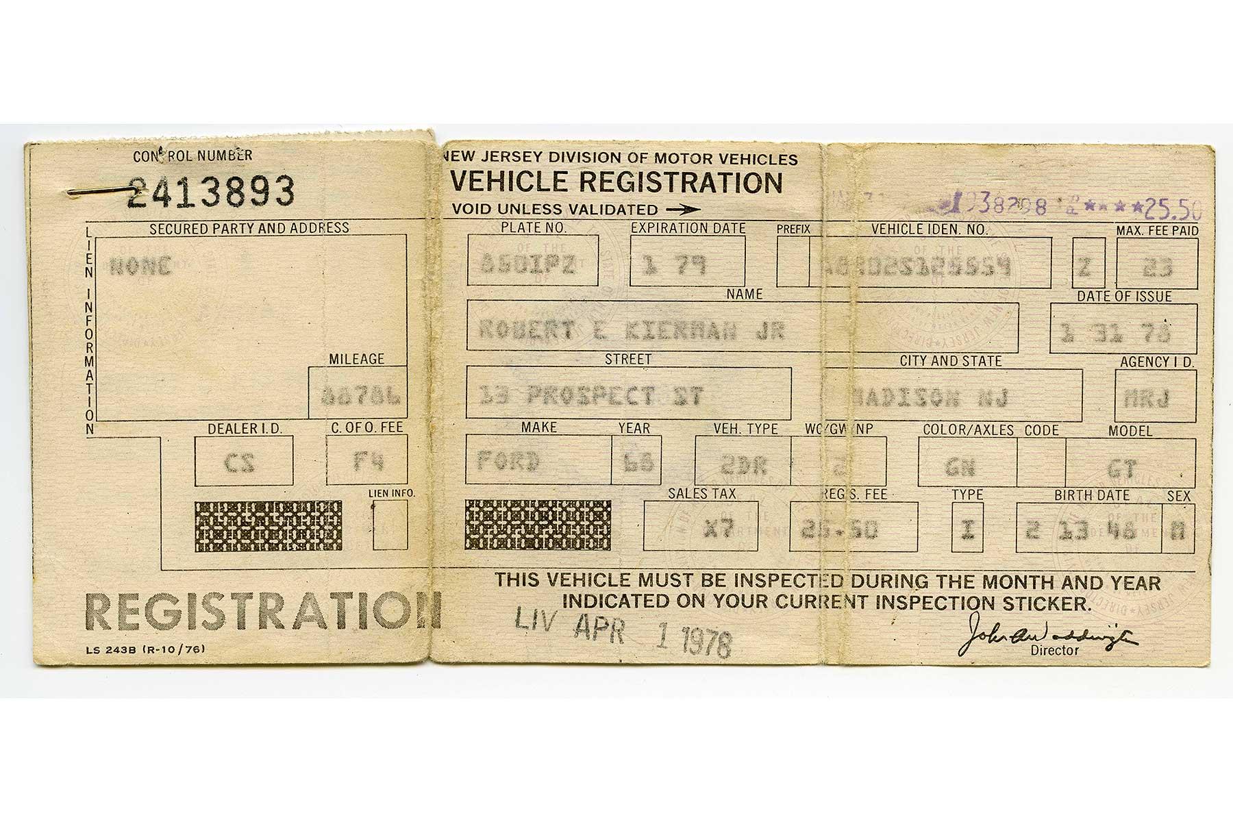Robert Kiernan S New Jersey Vehicle Registration