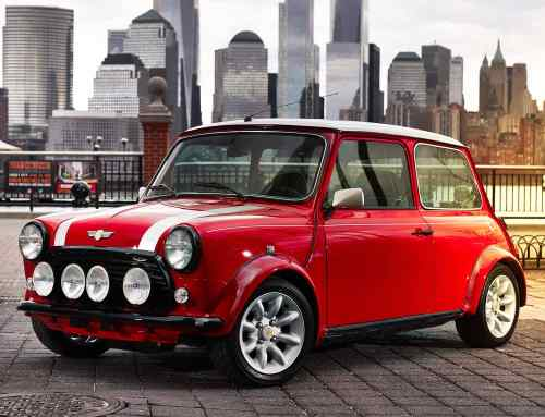 Classic Mini Electric charges into New York