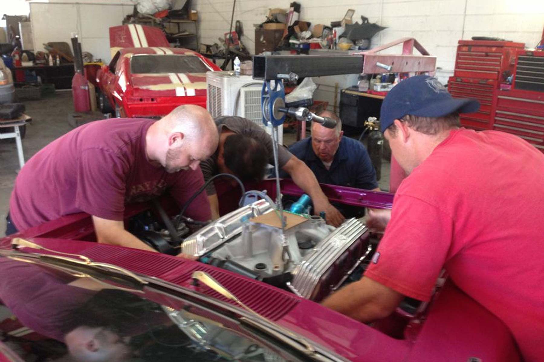 Engine-install, 1974 AMC Gremlin 401 XR