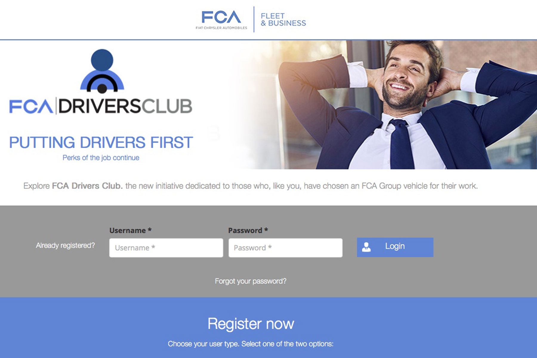FCA Drivers Club website