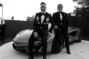 David Furnish and Elton John at the Argento Ball