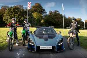 McLaren Senna vs motocross bikes at Goodwood