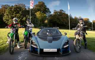 McLaren Senna vs motocross bikes at Goodwood