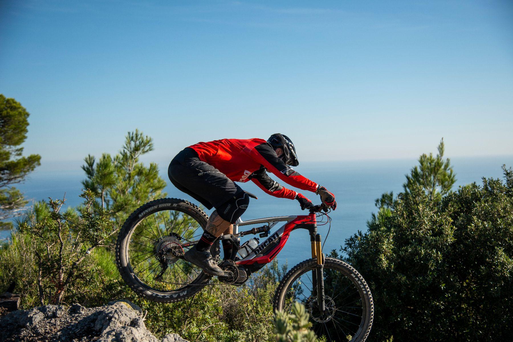 Ducati e-bike going downhill