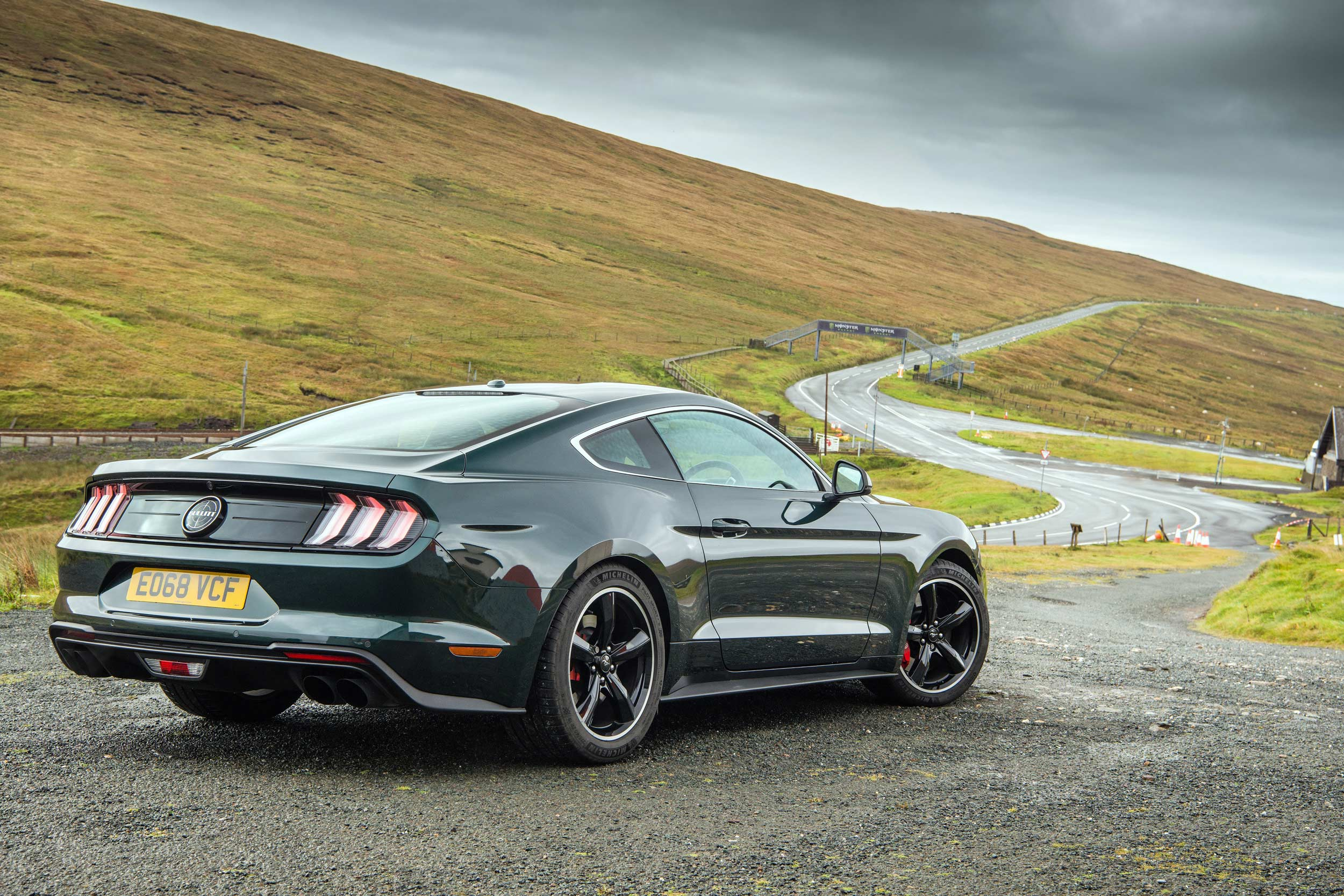 Ford Mustang Bullitt on the Isle of Man TT course