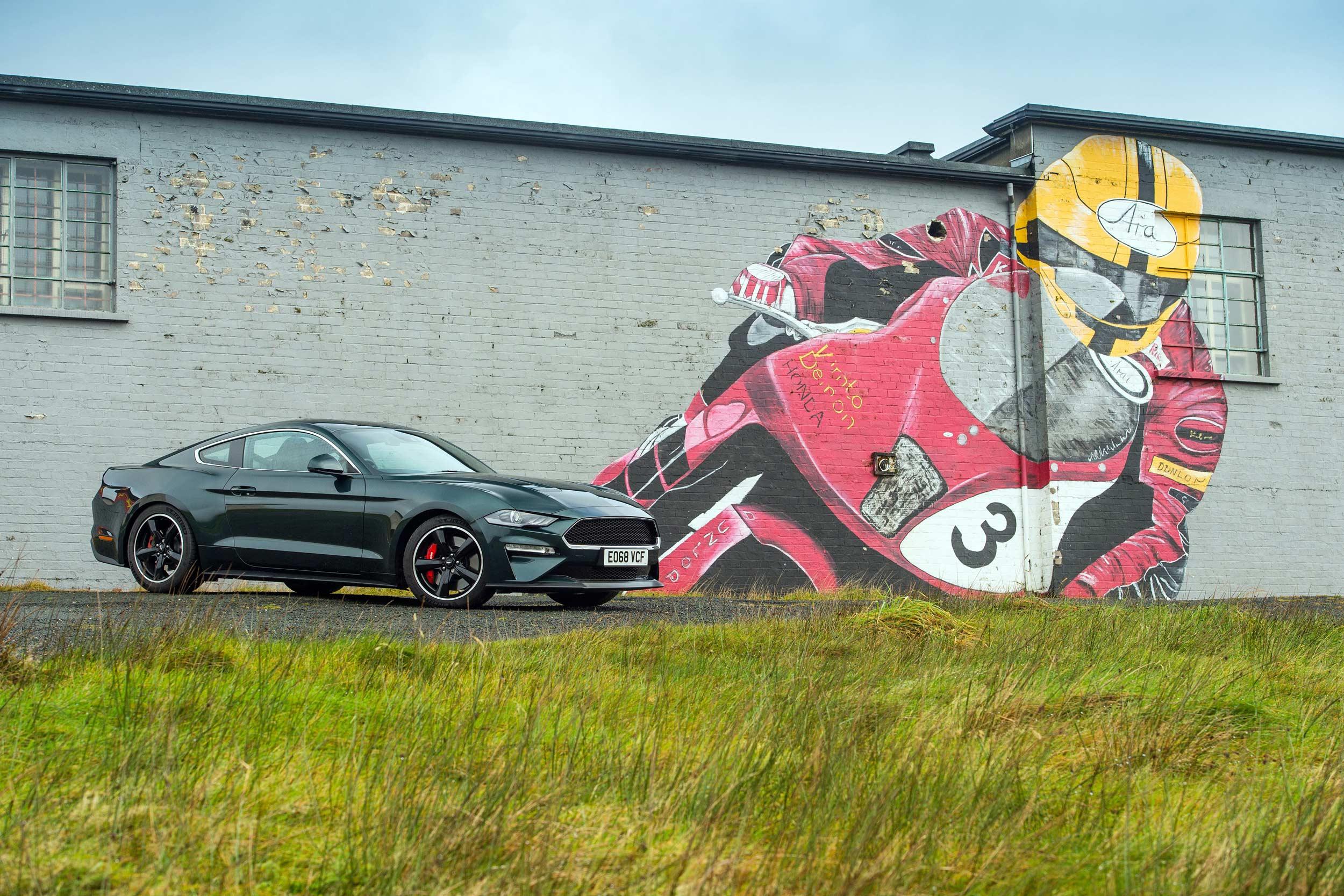 Ford Mustang Bullitt on the Isle of Man TT course