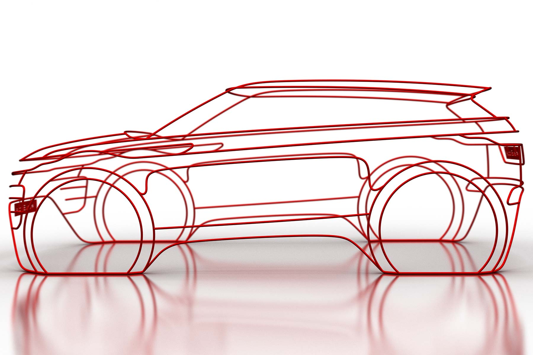 The new 2019 Range Rover Evoque has been teased in wireframe form