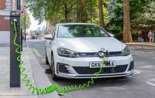 Volkswagen Golf GTE plug-in hybrid being charged in London