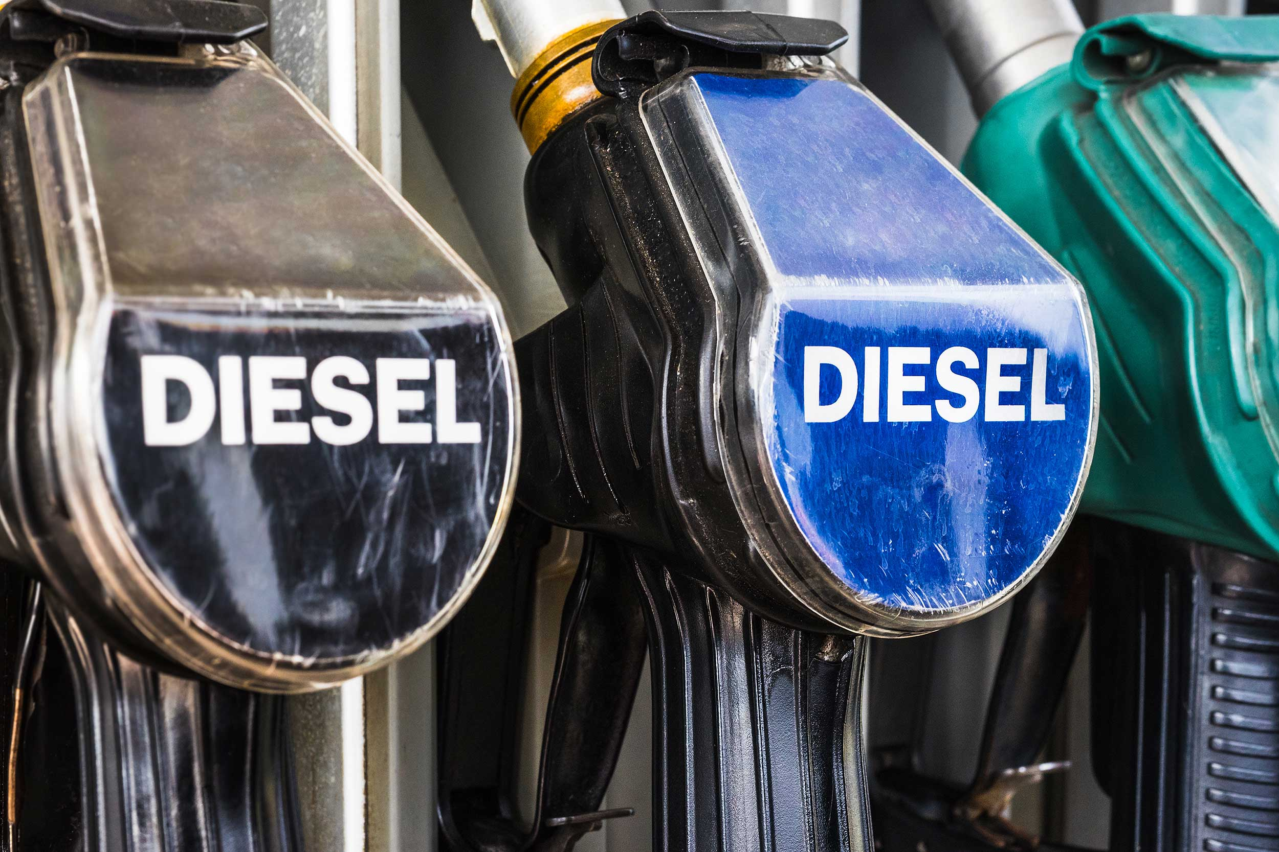 Diesel pumps at the filling station