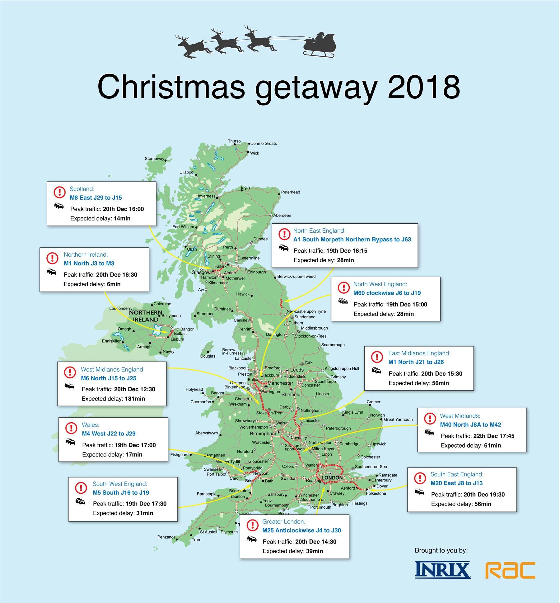 Christmas 2018 - top traffic jam hotspots