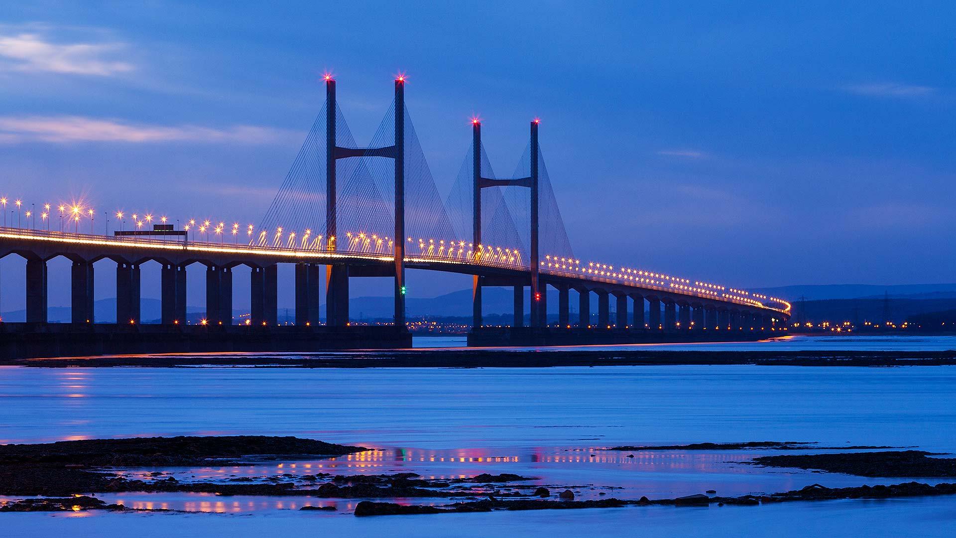 Severn Crossing at night