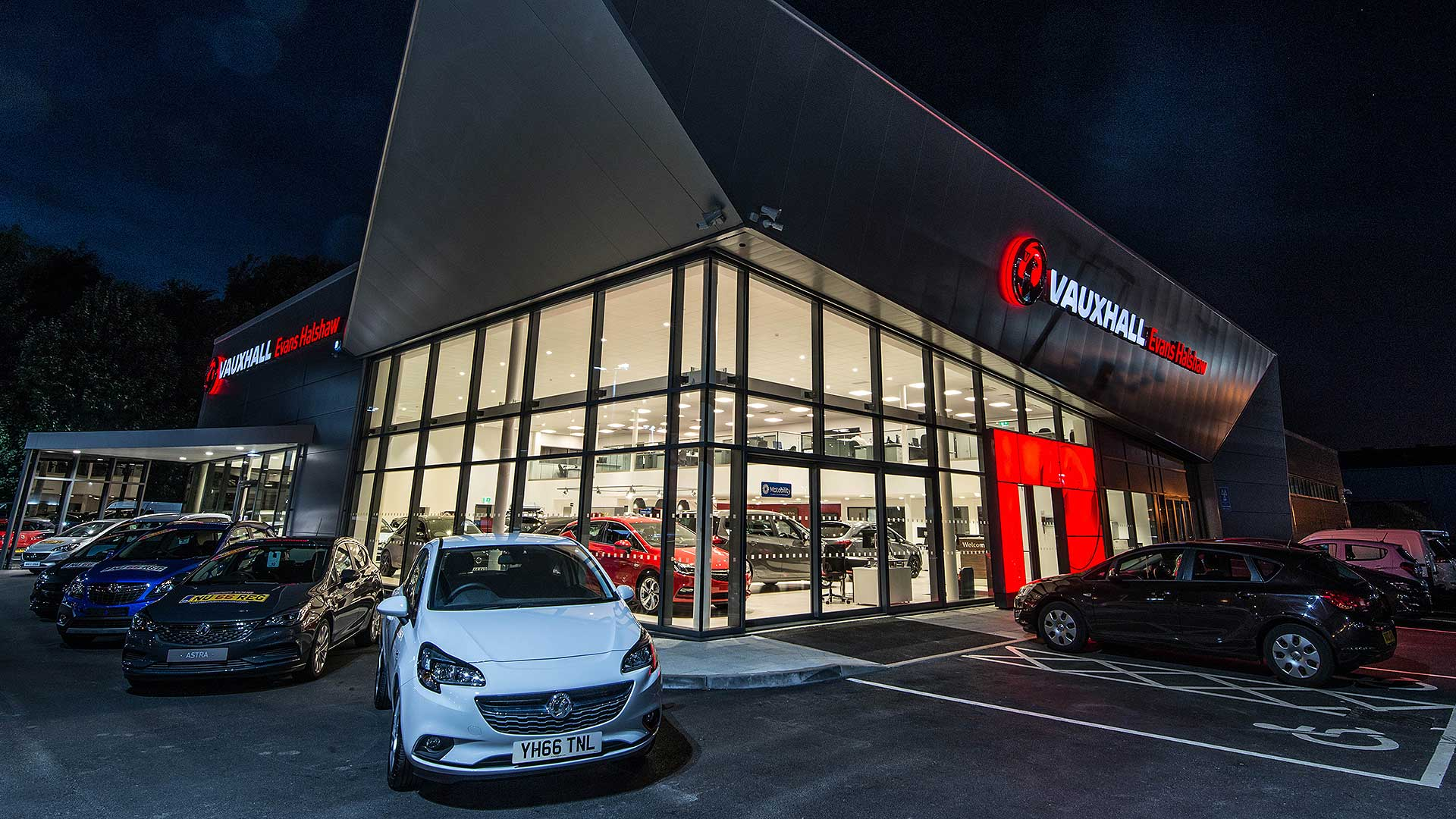 Vauxhall UK car dealer at night