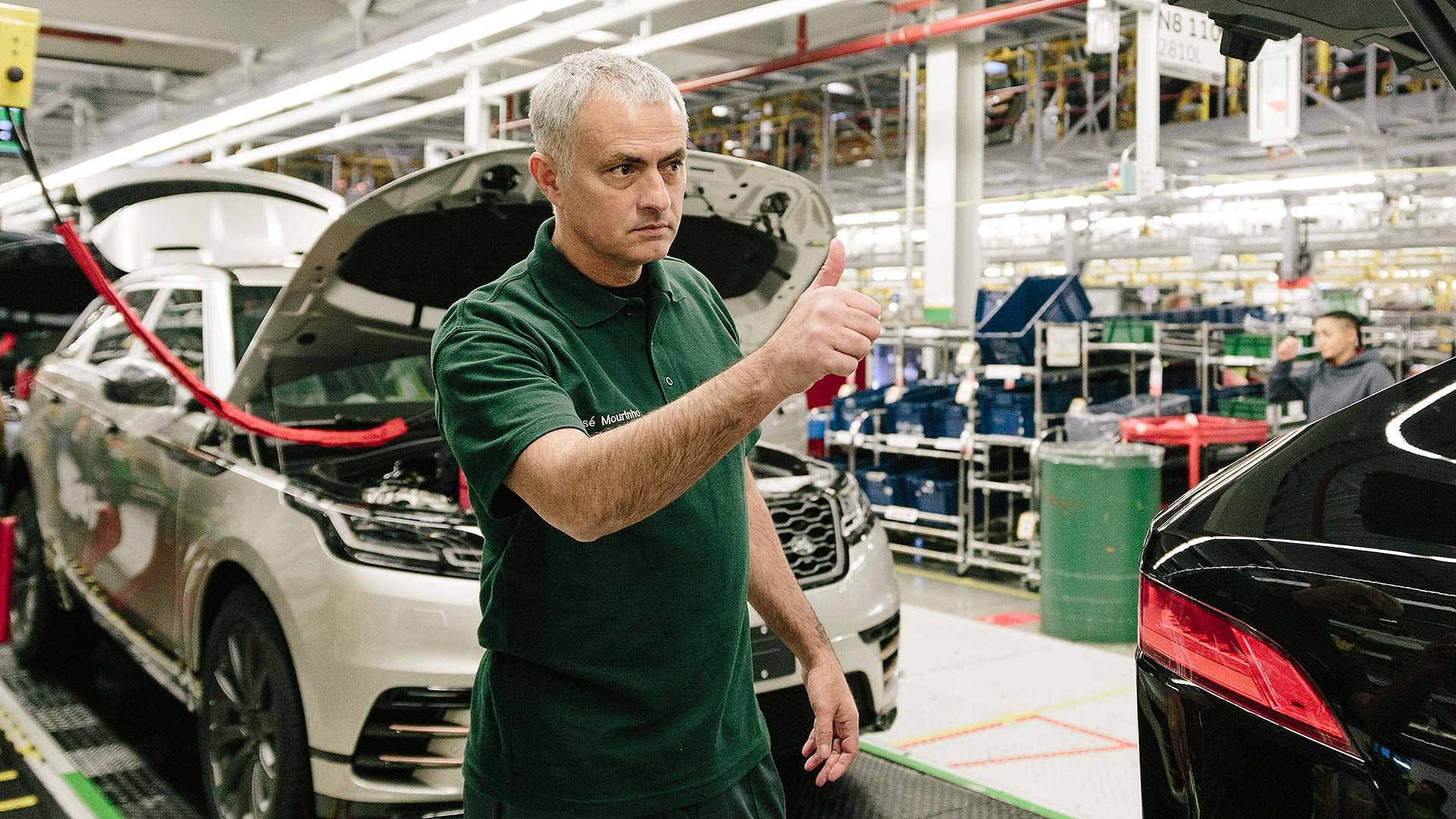 Jose Mourinho visits a Jaguar Land Rover car production line