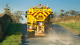 Road gritter spreading salt in winter