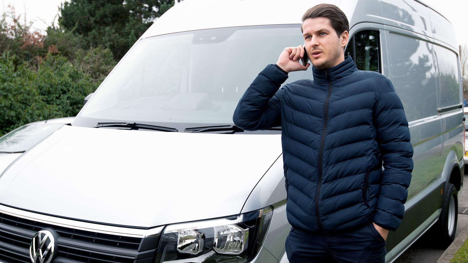 Van driver making a call