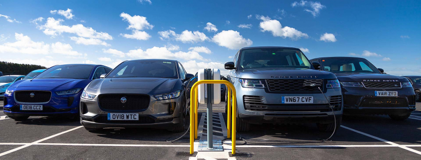 Jaguar I-Pace and Range Rover Sport charging at Gaydon