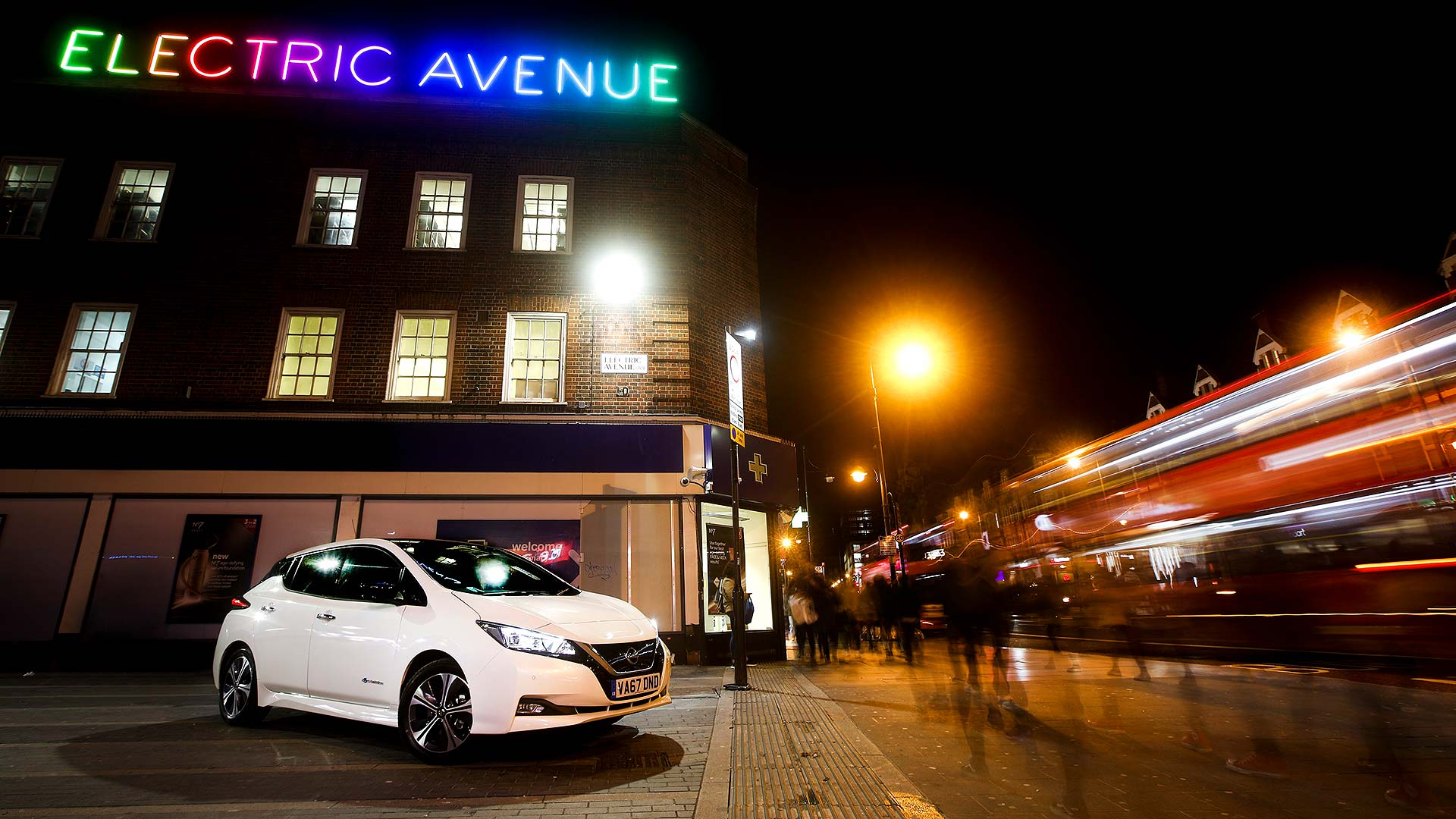 Nissan Leaf on Electric Avenue