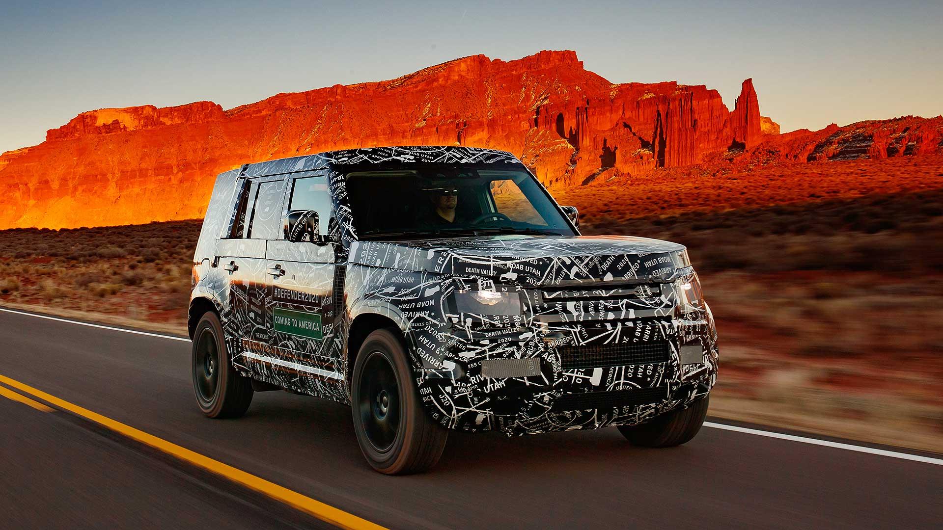 Land Rover Defender 2020 testing on road