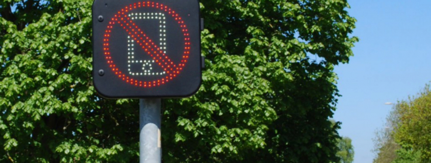 Warning sign driving phone