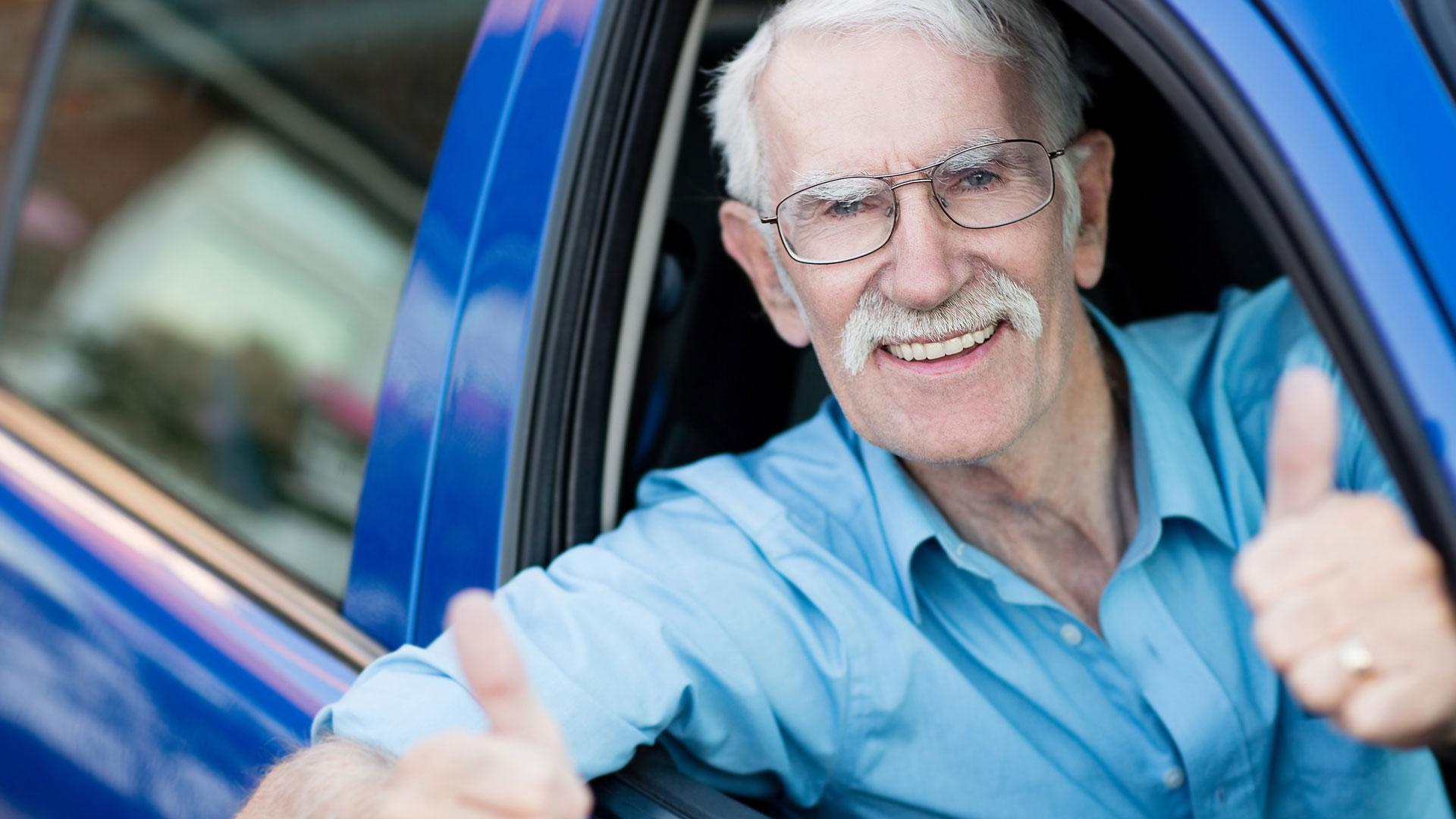 happy older driver