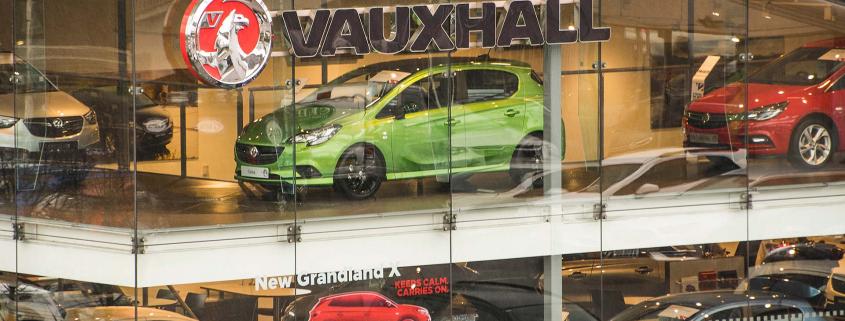 Vauxhall new car dealer showroom