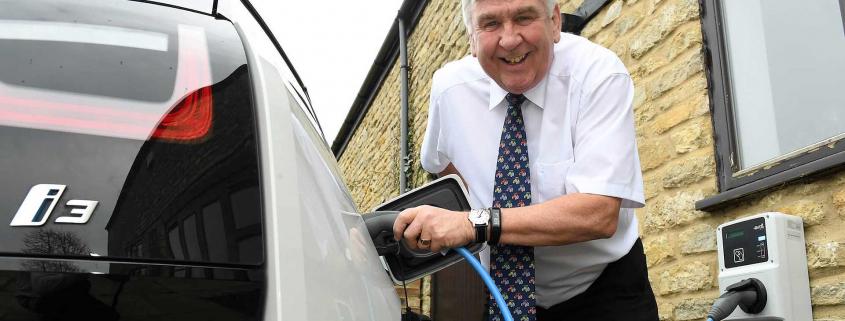 Electric company car driver