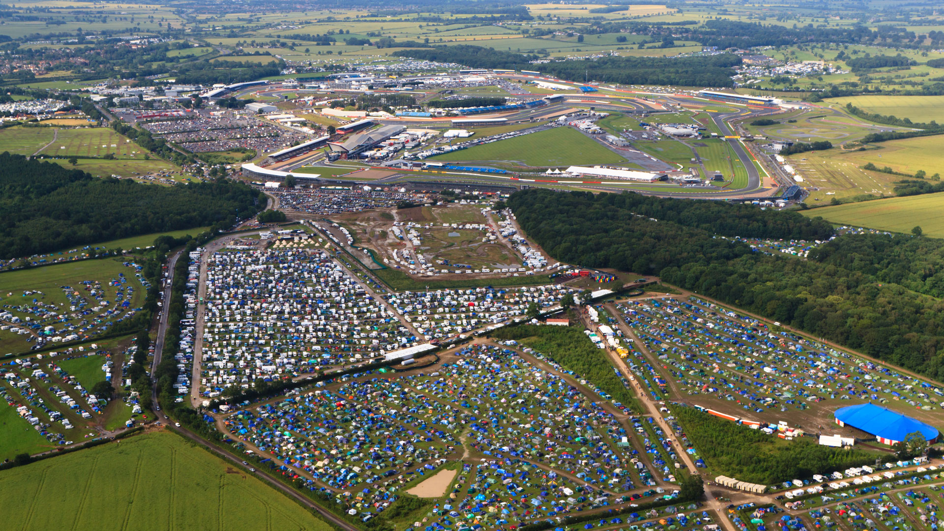 View of Silverstone during the F1 weekend