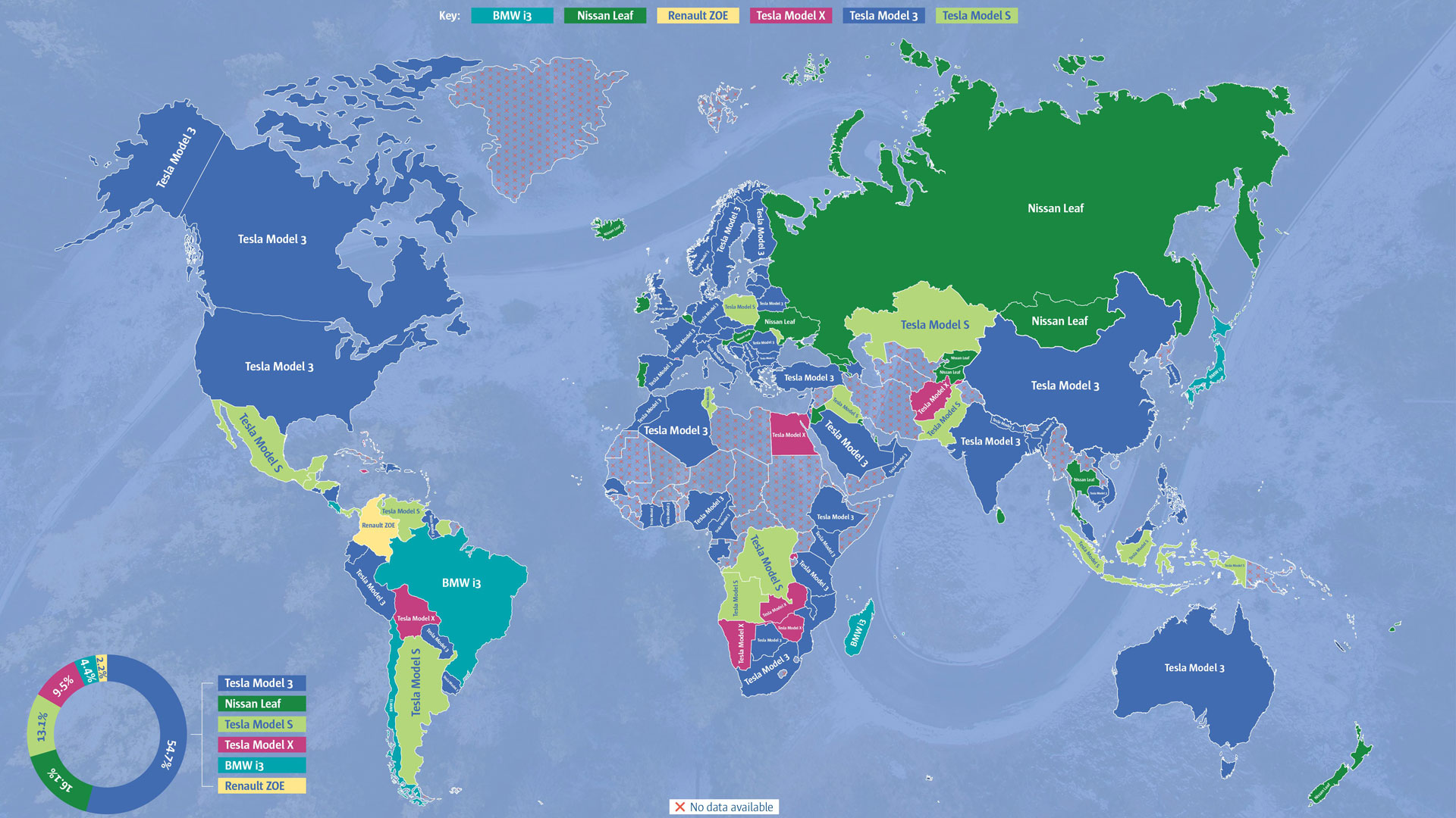 Most-wanted electric cars world map