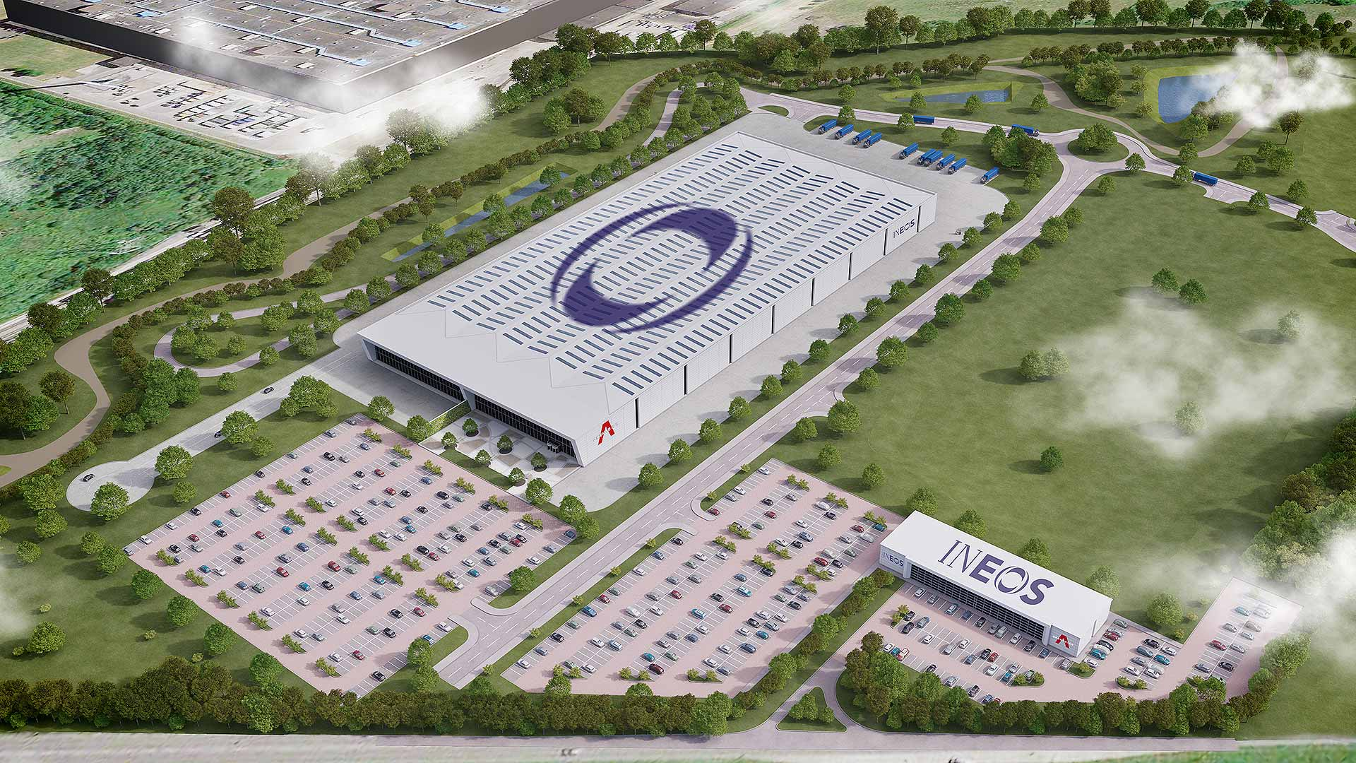 Artist's impression of the Ineos Automotive Bridgend factory