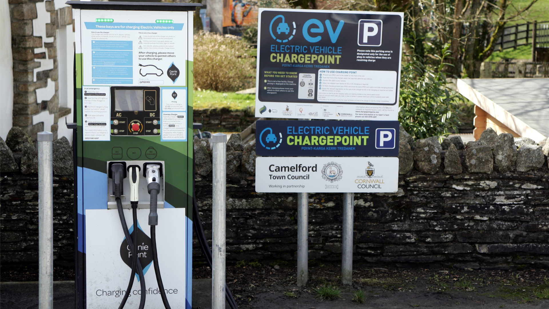 Chargepoint network in Camelford Cornwall