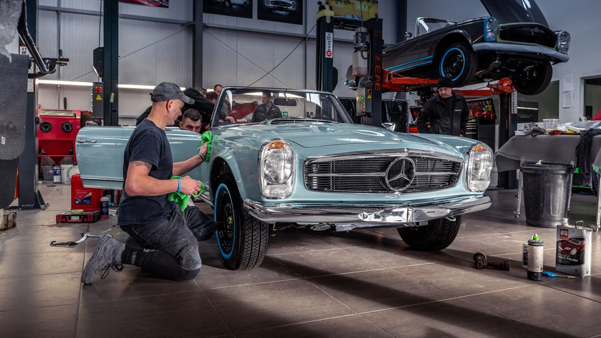 Classic Mercedes SL on display at Mercedes-Benz World