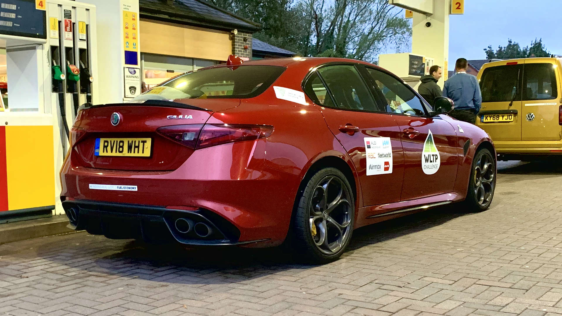 Alfa Romeo Giulia Quadrifoglio at the petrol station