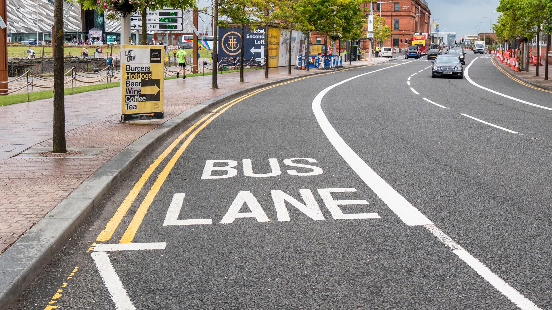 Bus lane in Belfast