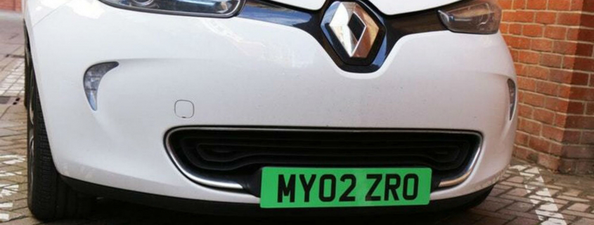 Green number plate on electric car