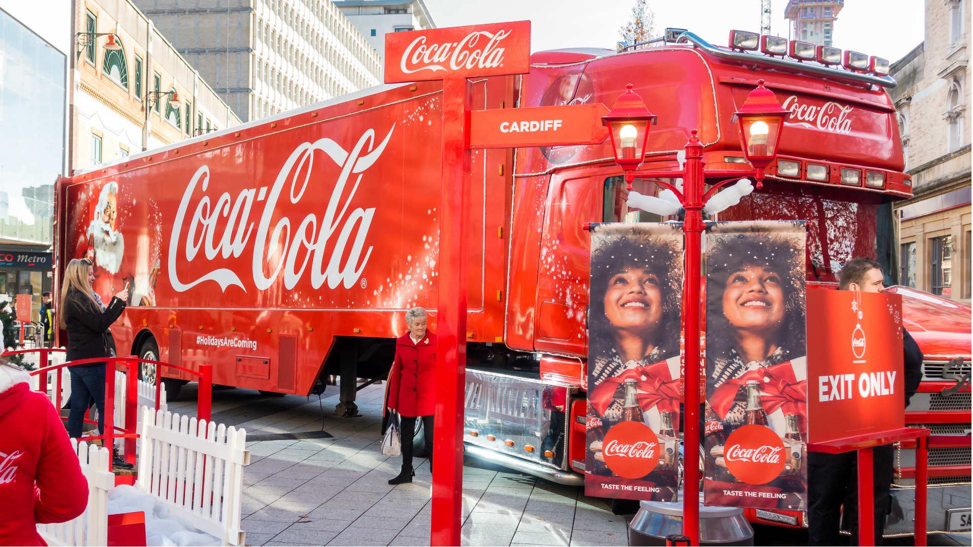 Coca-Cola truck in Cardiff